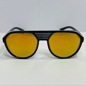 Other - Black/Gold Aviator Sunglasses with Side Blinders